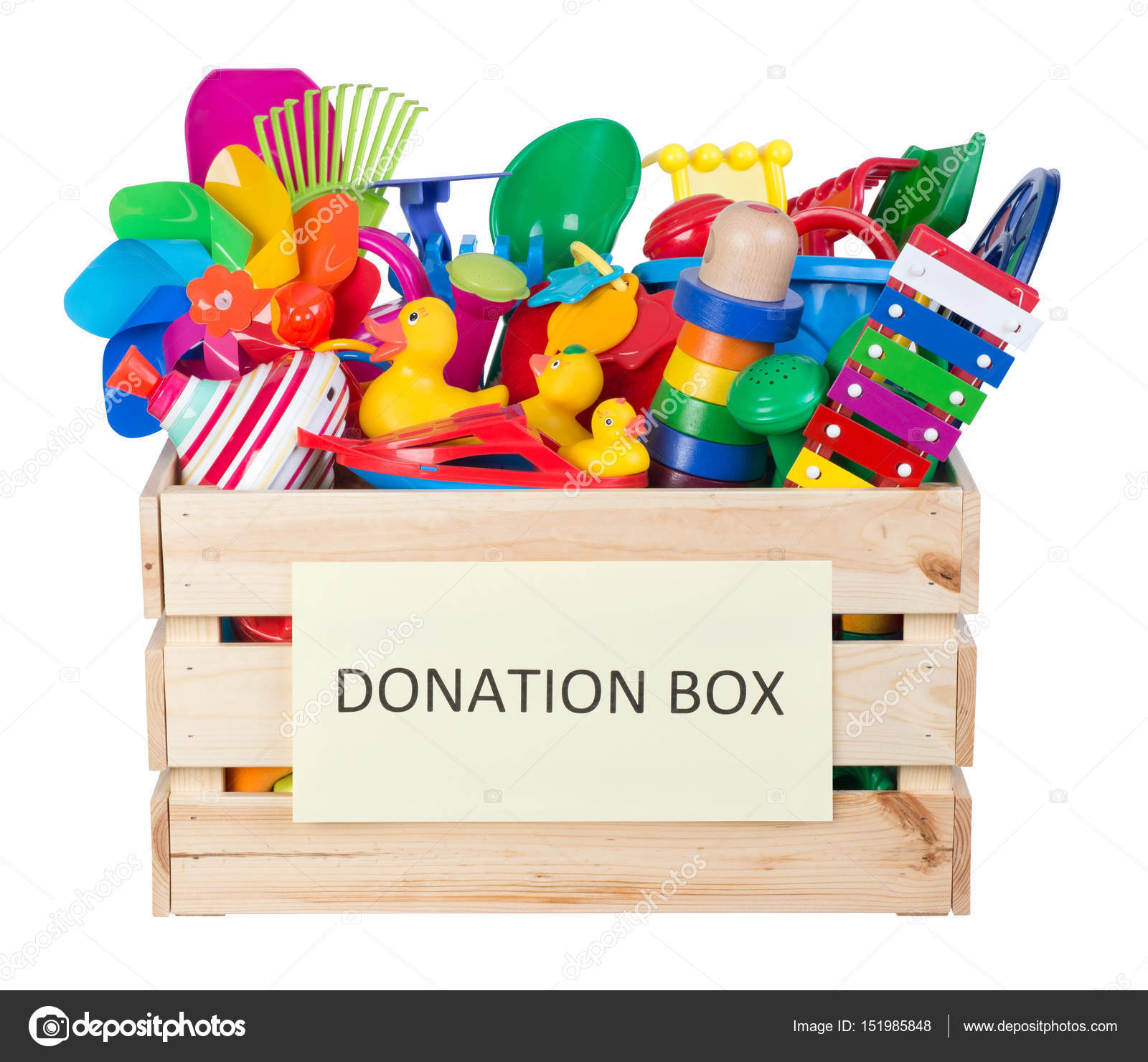 Toys donations box isolated on white background — Stock ...