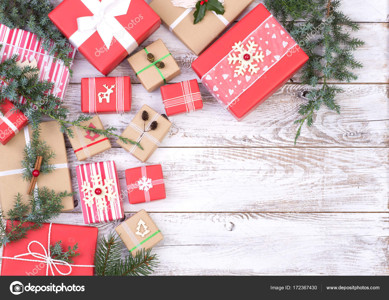 Christmas Presents White Wooden Background Copy Space Top View ...
