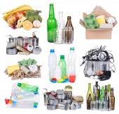 Müll sortiert für das recycling isolierten auf weißen Hintergrund