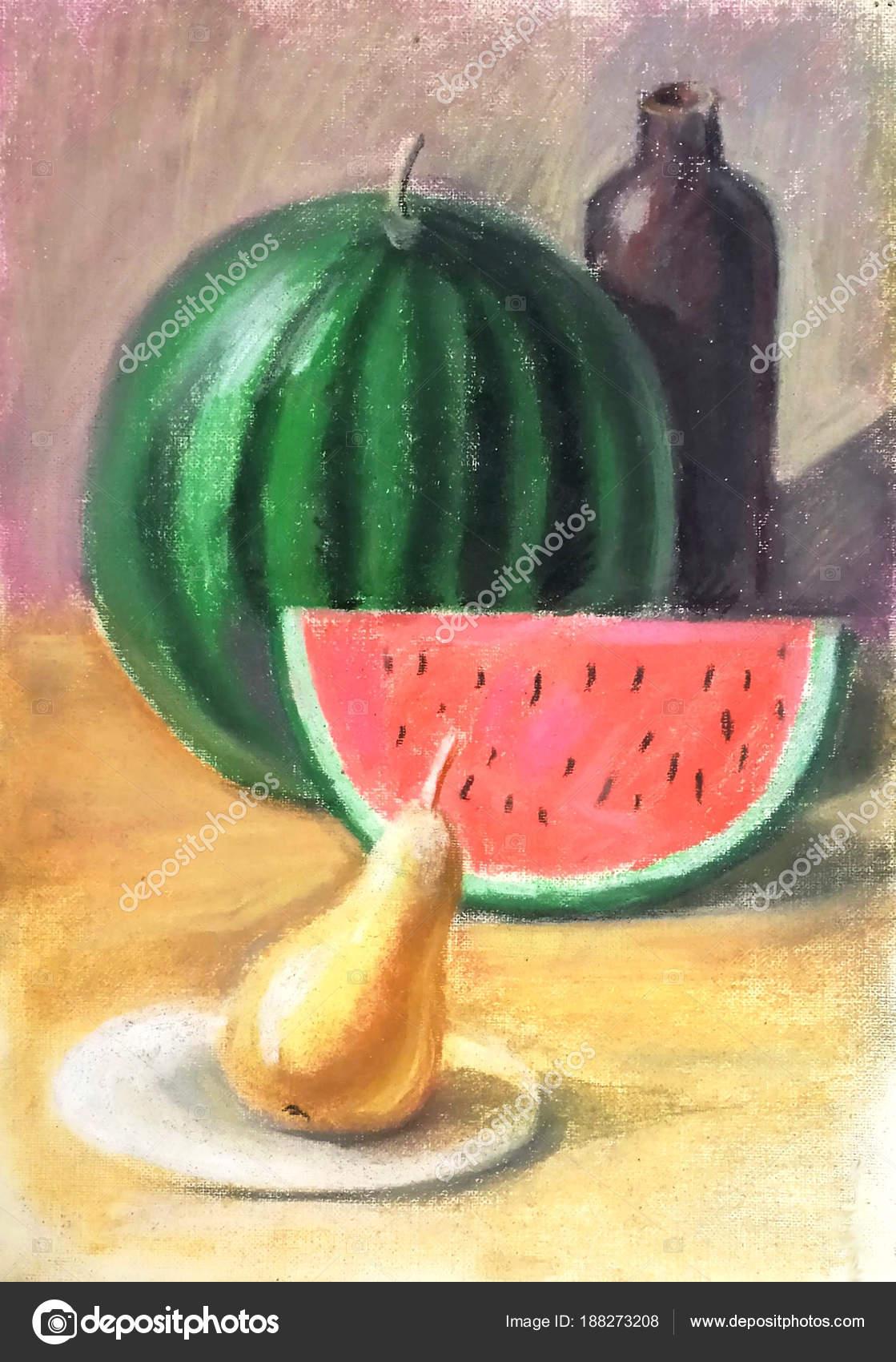 Beautiful Bright Pastel Still Life Watermelon Slice Pear Yellow