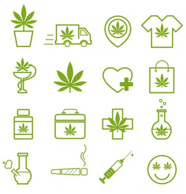 Marijuana, Cannabis icons. Set of medical marijuana icons. Marijuana leaf.