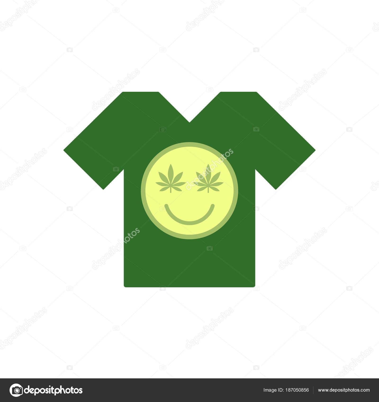 723788a74 Emoticon de maconha cara. Sorriso de canábis. Camiseta verde. Sorriso feito  de erva de folhas. Modelo de camiseta. Ilustração vetorial isolado — Vetor  de ...