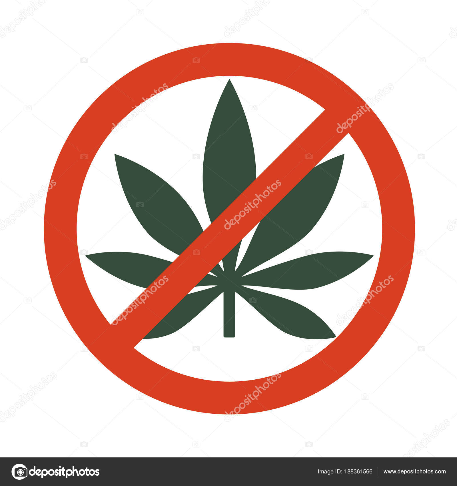 Marijuana Leaf With Forbidden Sign No Drug No To Marijuana