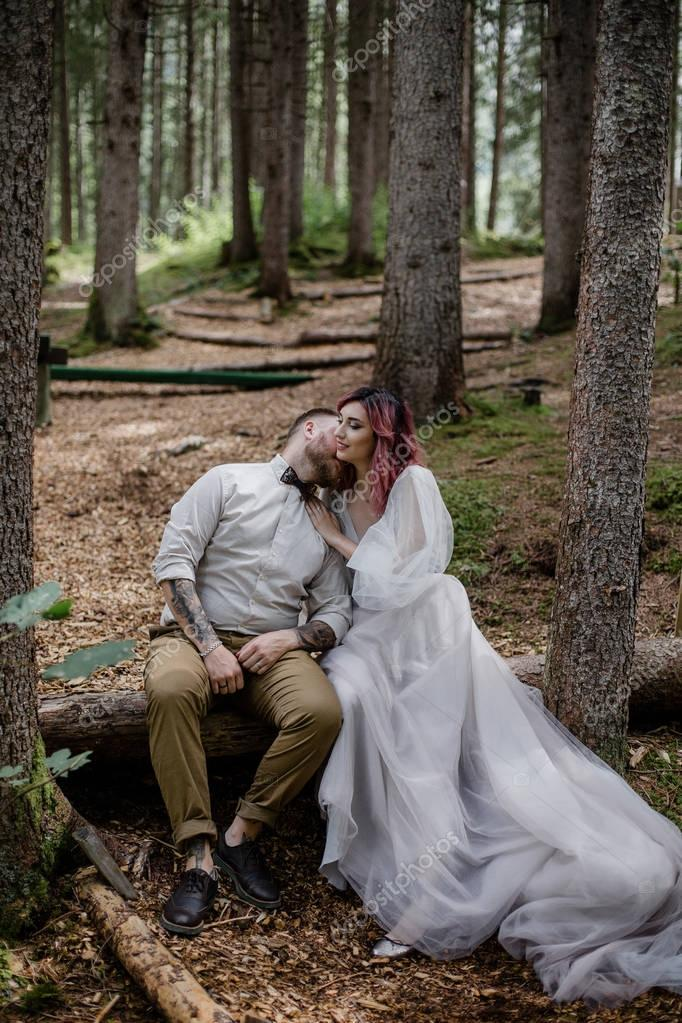 beautiful happy young wedding couple sitting in fallen tree in alpine forest