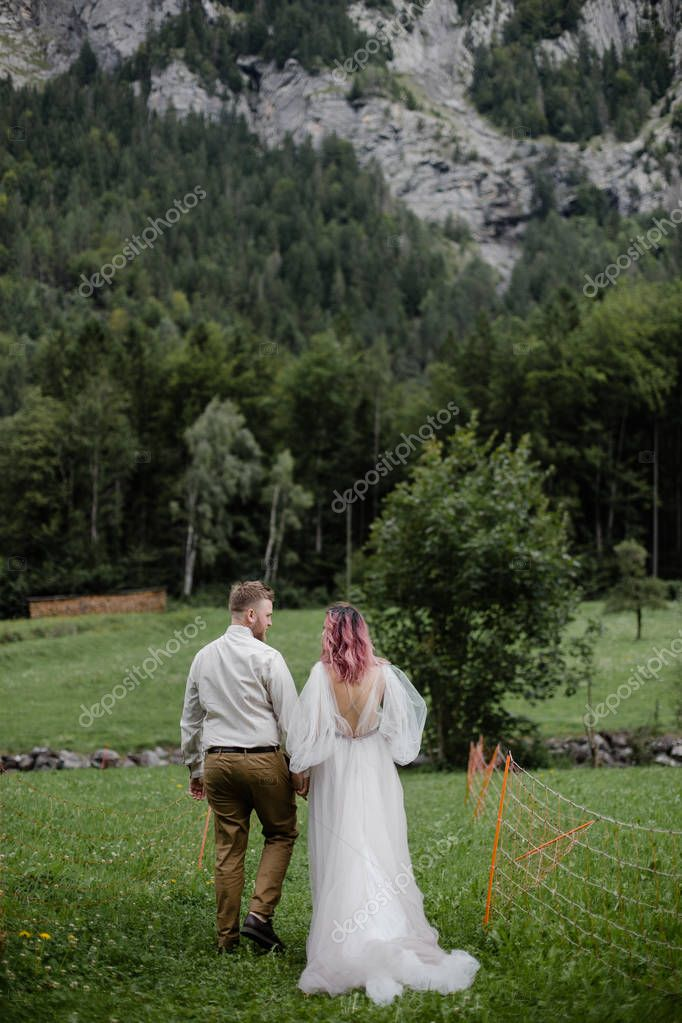 rear view of bride and groom walking on green mountain meadow in Alps