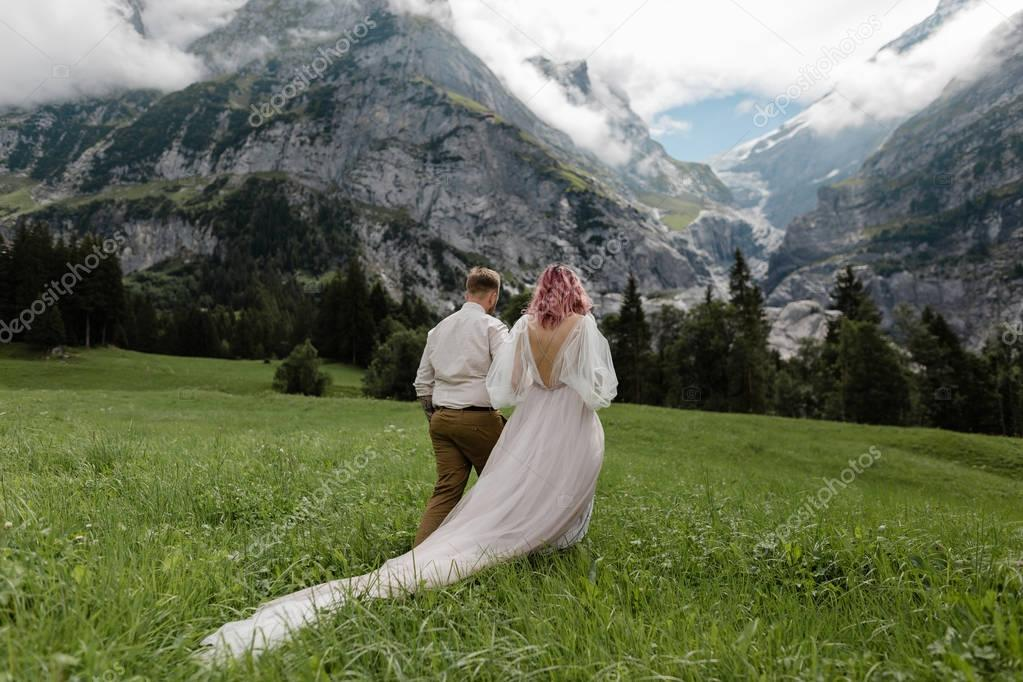 rear view of bride in wedding dress and groom holding hands and walking on green mountain meadow in Alps
