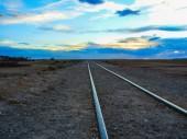 Train tracks in desert bolivia south america