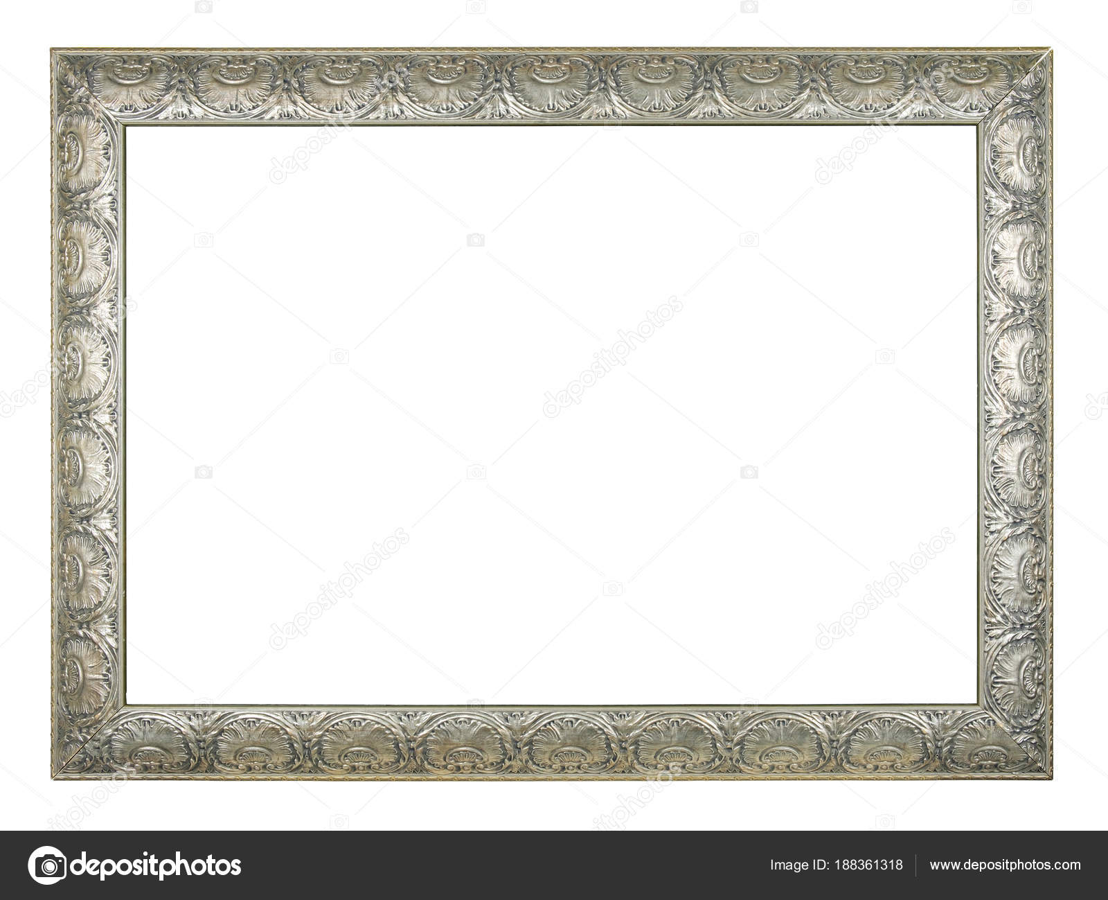 Silver Rectangle Old Vintage Frame White Background Isolated — Stock ...