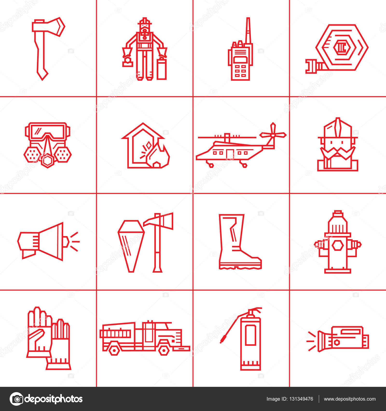 Fire Department contour icons. — Stock Vector © lilileka #131349476