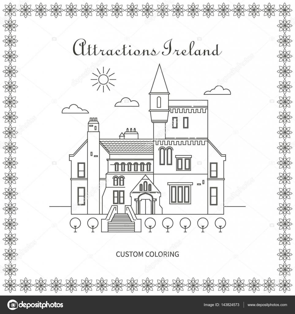 Atracciones de Irlanda página para colorear — Archivo Imágenes ...