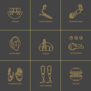 Icon set medical prostheses
