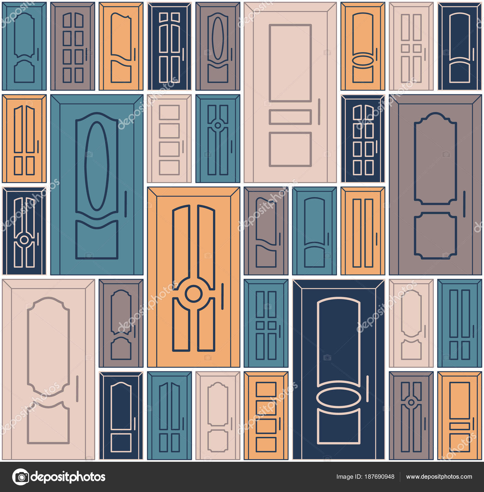 Vektor Türen Design Gesetzt Nahtlose Muster Sich Wiederholende ...