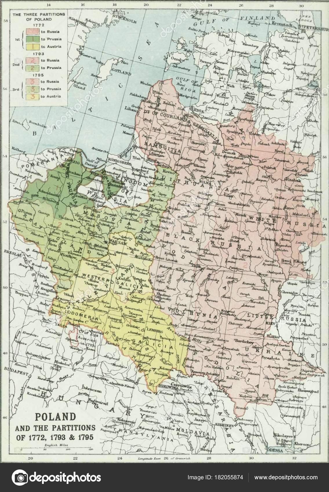 Карта Польши и перегородок 1772, 1793 и 1795– Стоковая редакционная  фотография
