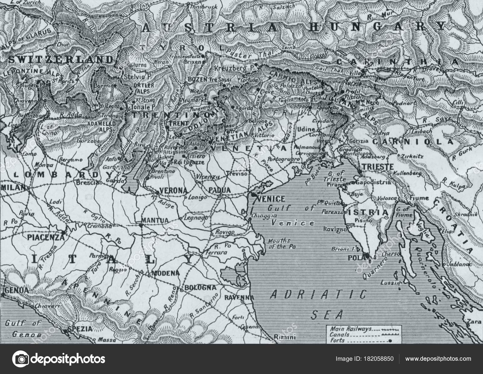 Map Of Northern Italy And Austria.Map Austria Hungary Northern Italy Adriatic Sea Stock Editorial