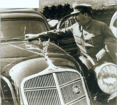 View of Josef Stalin beside black car