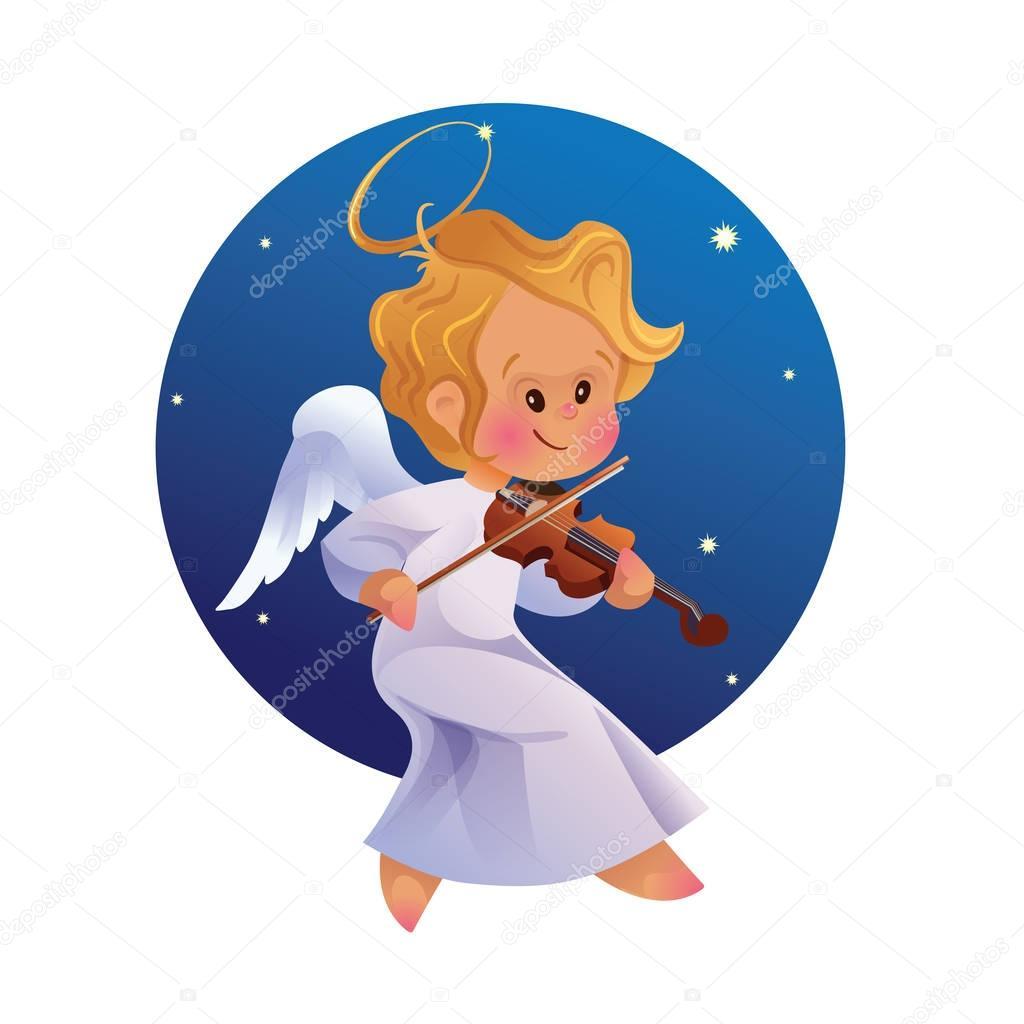 Roztomilý šťastný smilingy bab Vánoční anděl hrající housle — Stockový vektor