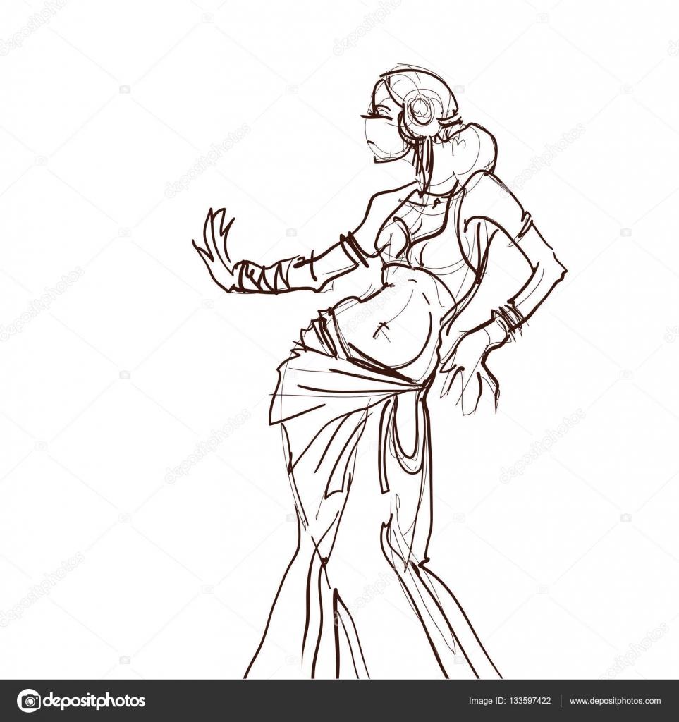 bailarina de tribal fusión gitana — Vector de stock © jera #133597422