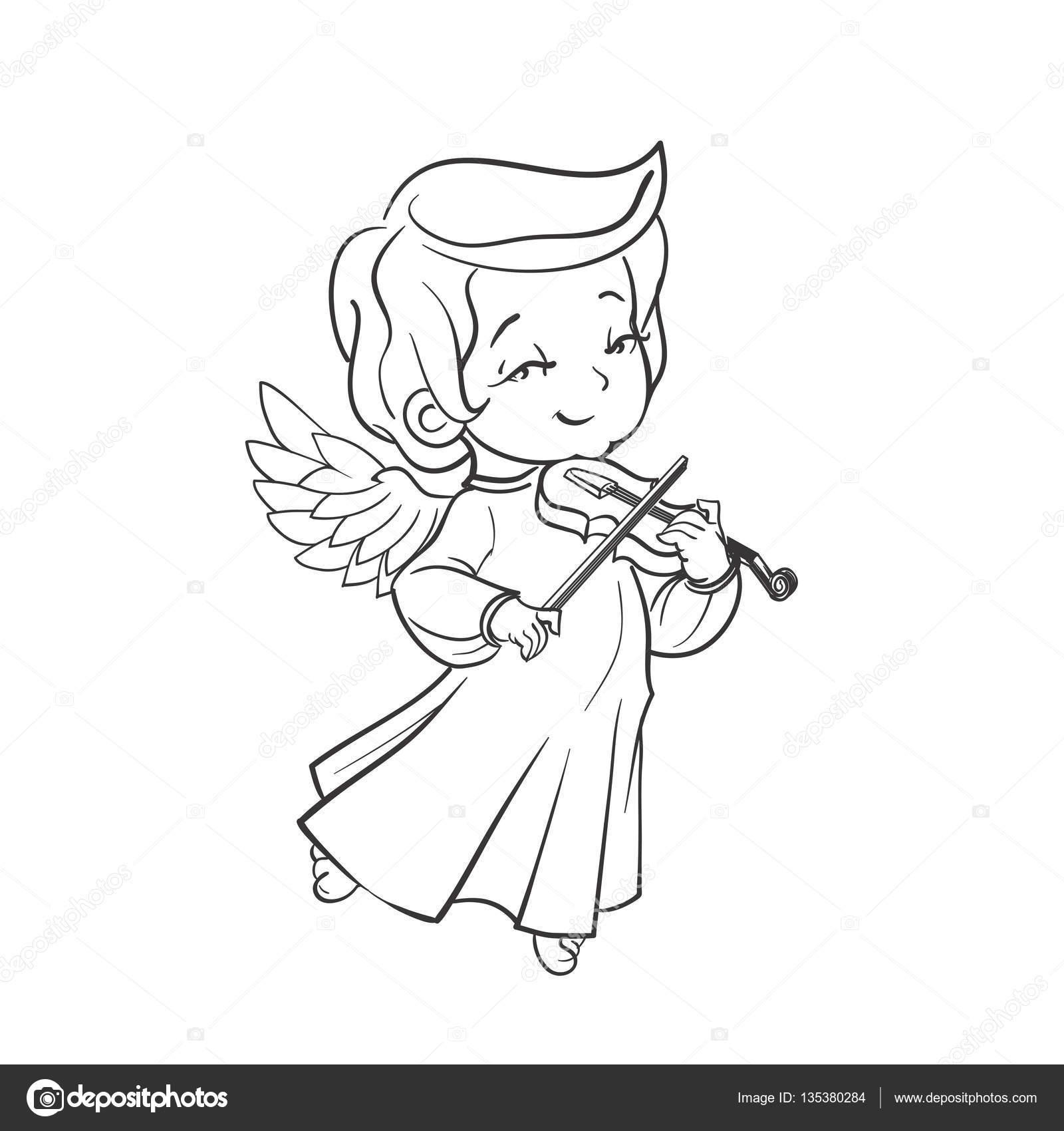 Ángel lindo bebé hacer música tocando violín — Archivo Imágenes ...