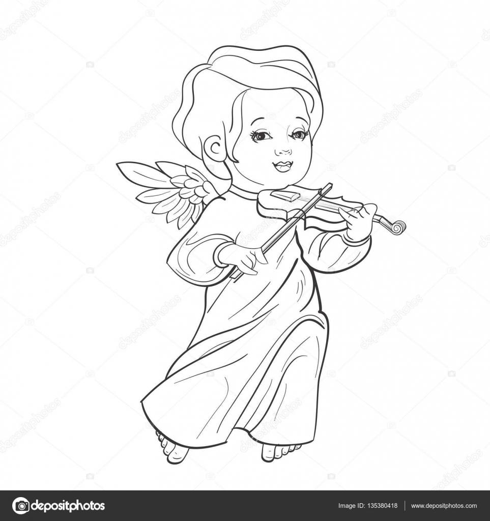 Yürümeye Başlayan çocuk Melek Keman çalmaya Müzik Yapma Stok