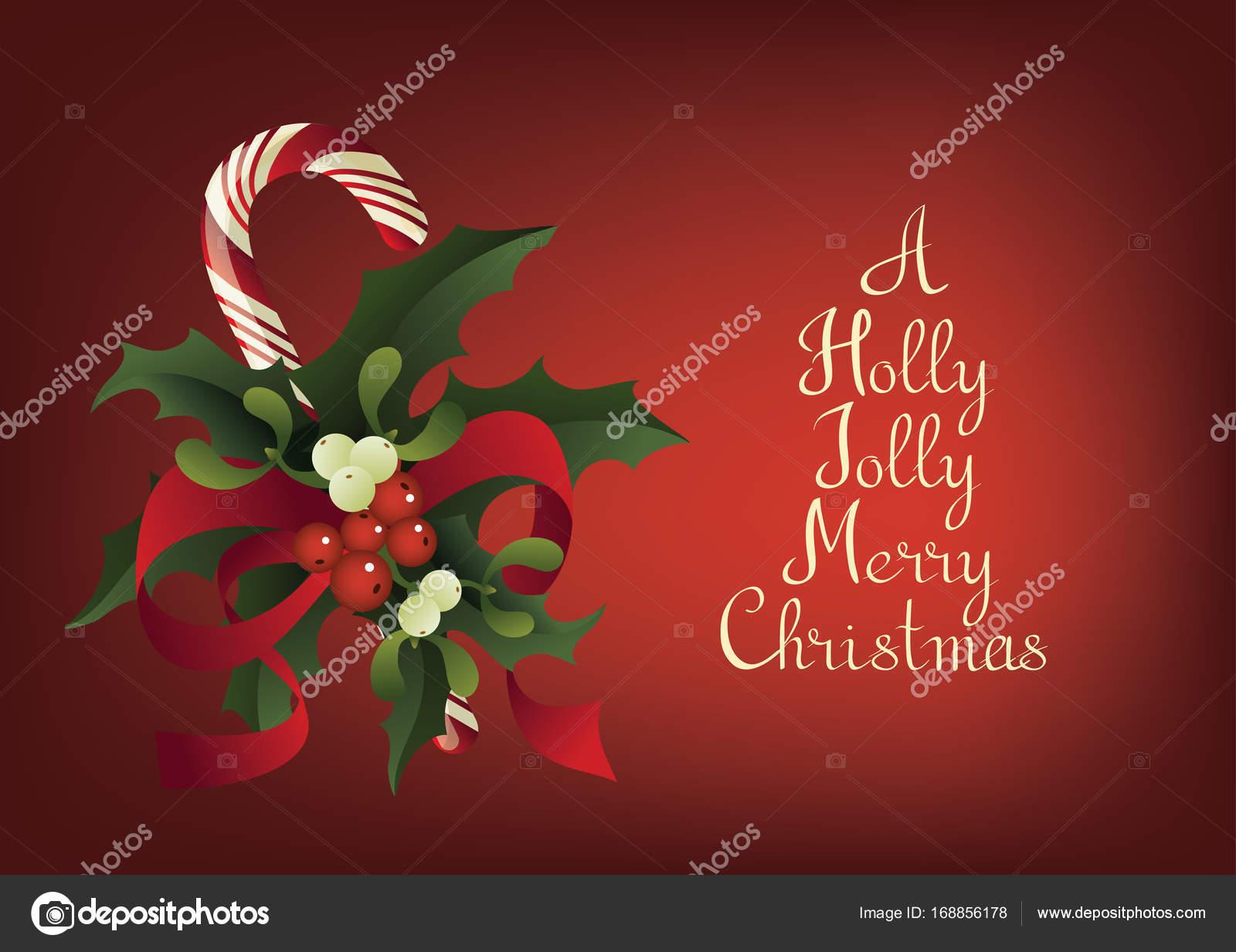 Saisonale Weihnachtsgrußkarte mit Zuckerstange. Ein glücklich ...