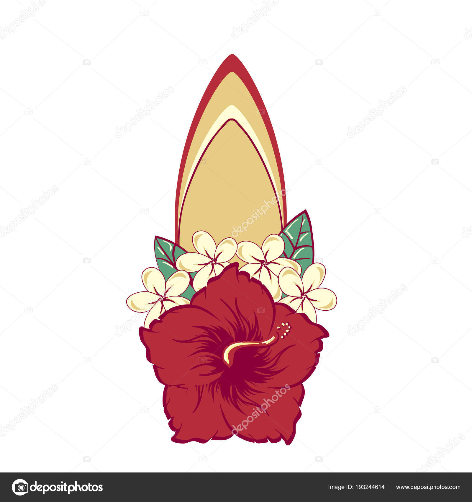 Surfboard in hawaiian flowers bouquet hibiscus and plumeria stock surfboard in hawaiian flowers bouquet hibiscus and plumeria stock vector izmirmasajfo