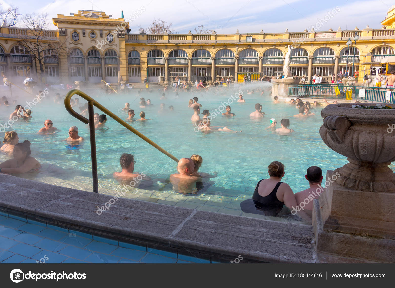 Budapest Hungary 2018 Thermal Baths Szchenyi Open Air Relaxing ...