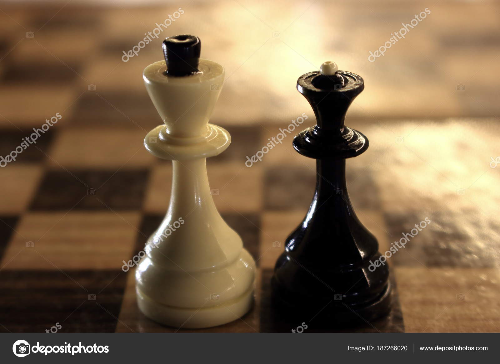 King queen chess figures chessboard white king black queen competition stock photo