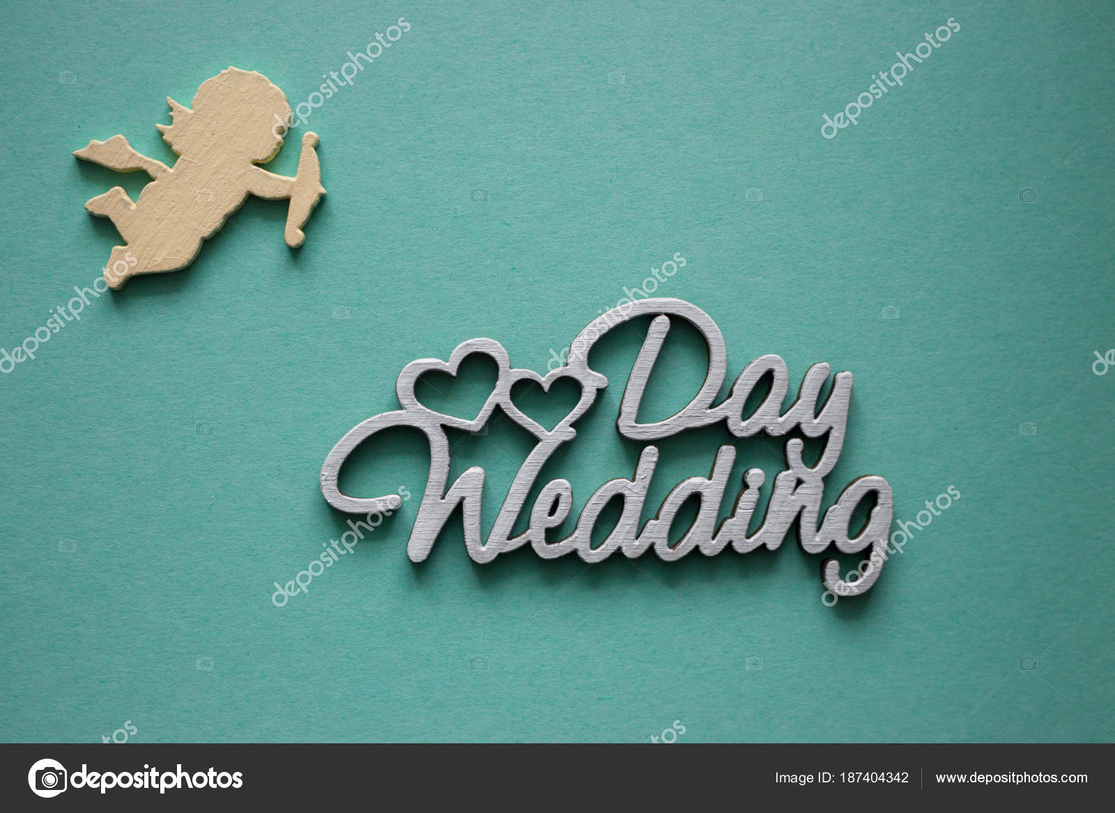 wedding greeting card words wedding day hearts love angel blue