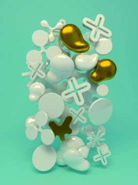 Composition with simple objects on turquoise background.