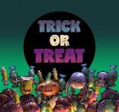 Fotografia rendering 3D della cartolina dauguri di Halloween felice. Bandiera di Halloween del fumetto stilizzato o poster