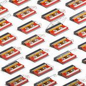 Fotografie 3D-Rendering viele isometrische rote Audio-Kassetten. Wiederholte Objects Muster. Retro-Technologie auf weißem Hintergrund