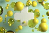 3D vykreslování bílých lékařských kříže a náhodné létající koule v pohledu na světlé pozadí