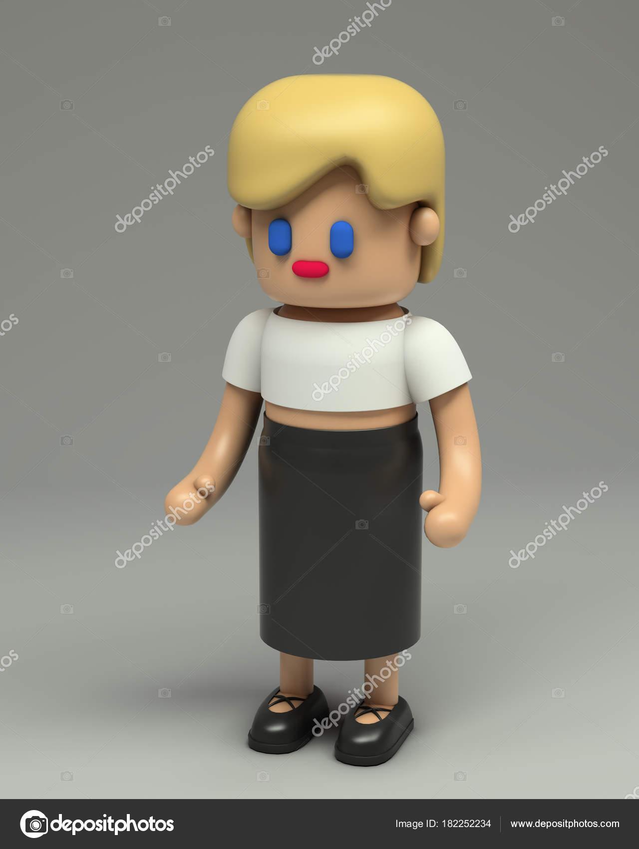 Rendering 3D della bambina con capelli biondi in bianco ritagliare gonna  top e nero. Fumetto 3d carattere illustrazione stilizzata. a6aa068f5272