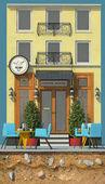 Fényképek 3D render a háttérben kis kávézó. 3D-s rajzfilm stílusú aranyos európai épület. Részletes homlokzat erkéllyel, a mennyezet és a modern lámpák. Utcai kávézók. Szabadtéri asztalok