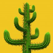 3D-s alacsony poly rajzfilm stilizált kaktusz. Növényi, elszigetelt élénk sárga háttérrel