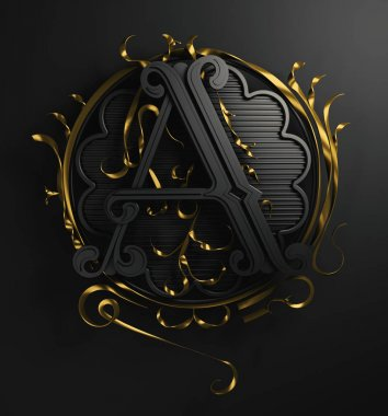 3d Classic capital letter A with decorative ornamental frame. Premium calligraphic label design. Uppercase. Monochrome old-style typography and detailed golden filigree and flourishes on black background.