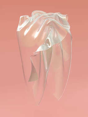 3d rendering of dangling cellophane textile. Futuristic transparent plastic material hanging in the air on pink background.
