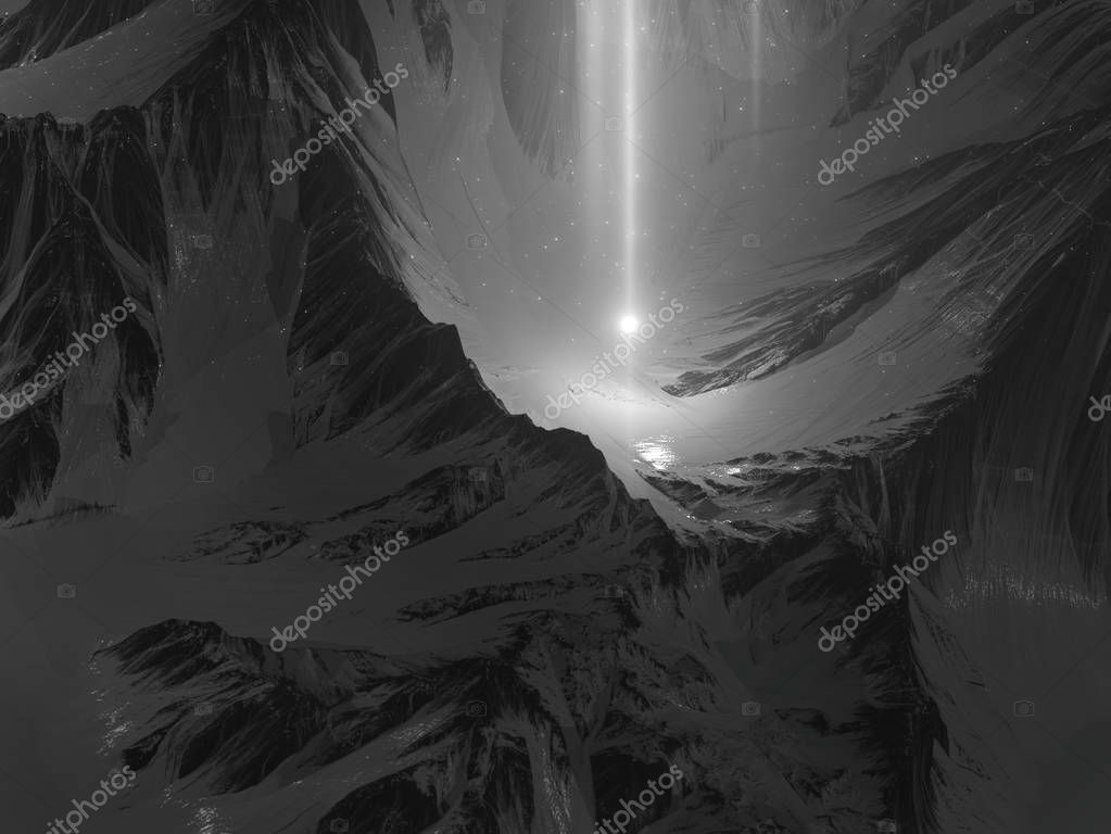 3d rendering of scenic snowy mountains landscape at starfall night.  Abstract enchanted dark view in the moonlight with shooting stars. Mysterious scene middle of mystic magic deep rocky valley