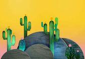 Fotografia Decorazioni 3D fumetto stilizzato. Tema messicano. Appartamento colline con i cactus. Stile legno scenografie teatrali, o a strati come libri pop-up. Sfondo giallo vivido