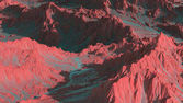 Photo 3d rendering of scenic mountains landscape on an alien planet. Abstract Sci fi mountains of Mars with desert red soil.
