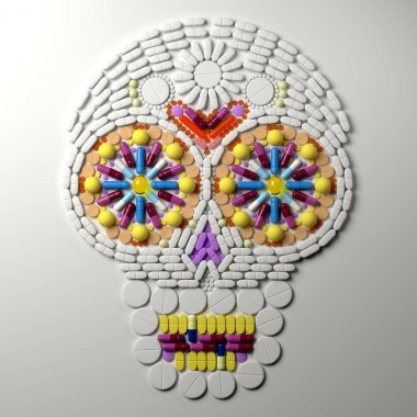 3d illustration of  skull laid out from pills and tablets. Colorful capsules shape a skull on white background. Realistic render with soft shadows
