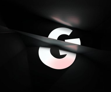 3d rendering of alphabet projected on refracted surface. Creative geometric typography. Low poly style font isolated on black background. Polygonal letter G
