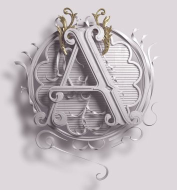 3d Classic capital letter A with decorative ornamental frame. Premium calligraphic label design. Uppercase. Monochrome old-style typography and detailed golden filigree and flourishes on white background.