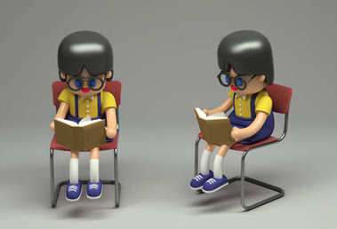 3d rendering of little girl in glasses sitting on chair and reading book. Cartoon stylized. Cute figure on grey background.