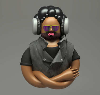 3d rendering. Grumpy cool dude in sunglases with bristle listening to music with big headphone. Cartoon rock style character. Cute figure isolated on grey background.