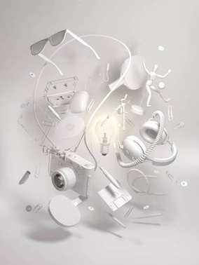3d rendering group objects flying around light bulb. Creativity concept, thinking and get bright idea.