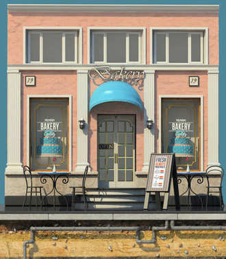 3d render of background with small bakery shop. 3d cartoon style cute European building. Detailed pink facade with columns and big cake showcases. Street cafes.Outdoor seating.