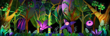 3d cartoon stylized abstract green foliage jungle on background