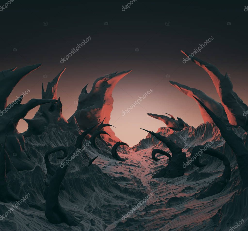 3d rendering of horror landscape. Dry twisted spines, spikes sticking out of the dry stone ground. Evil demonic planet background for Halloween poster.
