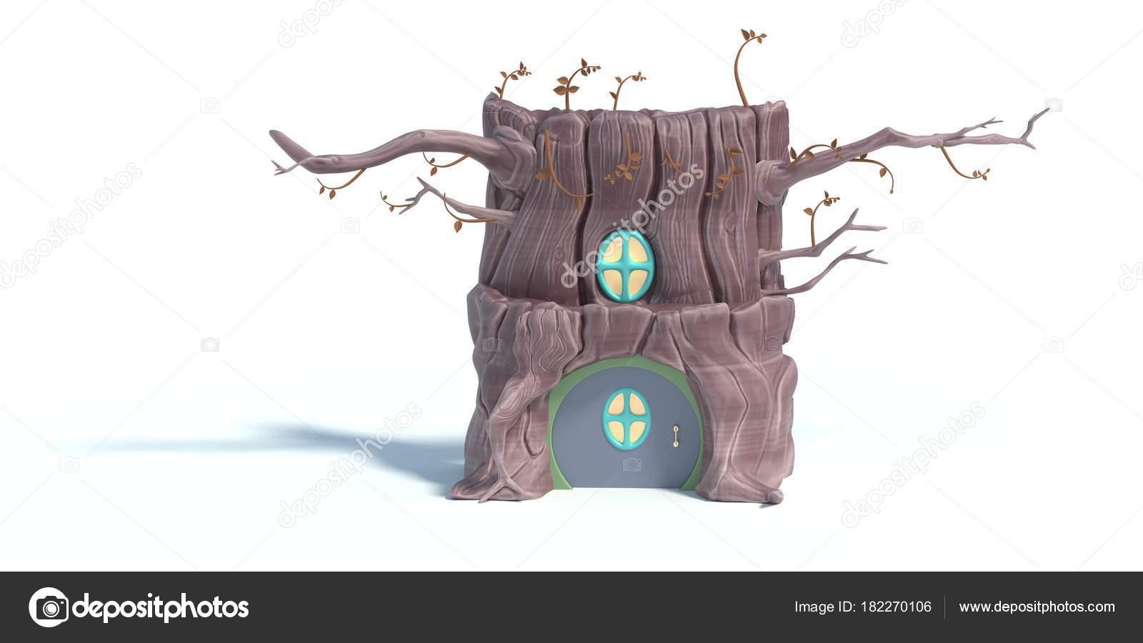Rendu 3d de dessin animé maison de larbre isolé sur fond blanc terrier décureuil stylisé accueil à lintérieur du tronc darbre avec petite porte